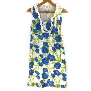 Merona Blue Floral Print Ruffle Sleeveless A line